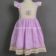 boutique purple cotton poplin embroidered baby girl dresses